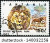 TANZANIA - CIRCA 1993: Stamp printed in Tanzania dedicated to selous national park, shows lion, circa 1993 - stock photo