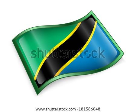 Tanzania flag icon, isolated on white background - stock photo