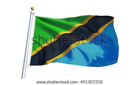 Tanzania flag waving on white background, close up, isolated with clipping path mask alpha channel transparency