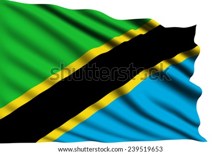 Tanzania flag with fabric structure (clipping path)
