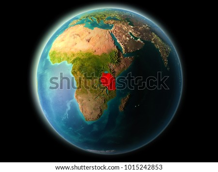 Tanzania from orbit of planet Earth at night with highly detailed surface textures. 3D illustration. Elements of this image furnished by NASA.