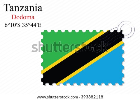 tanzania stamp design over stripy background, abstract art illustration, image contains transparency
