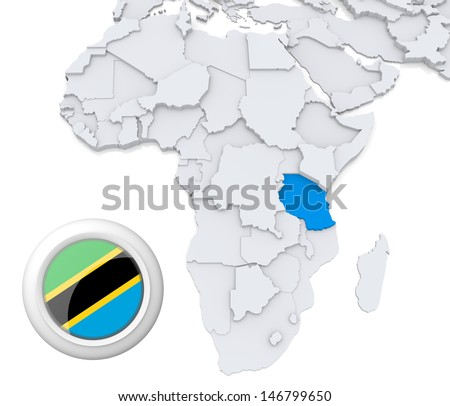 Tanzania with national flag - stock photo