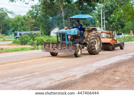 Tao Ngoi, Sakon Nakhon, Thailand July 3, 2016. Road cleaning vehicles. Before asphalt. Ban Dong Luang area in front of the hospital.