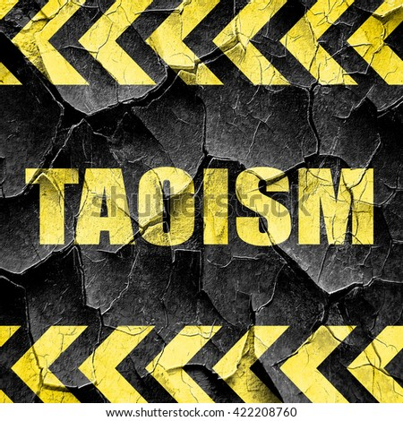 taoism, black and yellow rough hazard stripes - stock photo