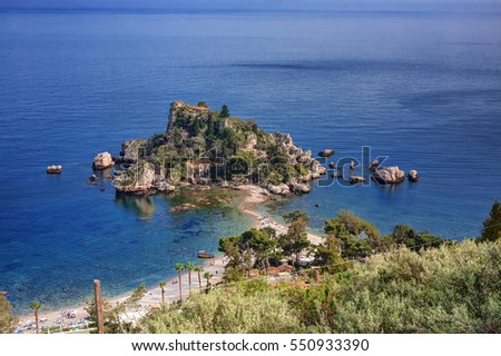 Taormina, Sicily (Italy): Isola Bella seen from above during a summer sunny day.