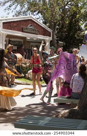 """Taos, NM, USA - June 21, 2009: Photo of a parade to celebrate the 40th anniversary of the movie """"Easy Rider"""" being partially filmed here in 1969.   - stock photo"""