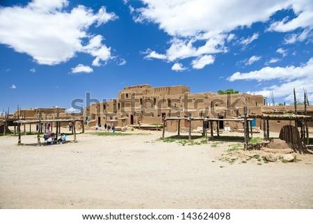 Taos Pueblo new mexico america - stock photo