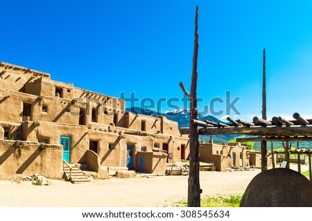 Taos, U.S.A. - May 22 2011: New Mexico, the  native pueblo (village)