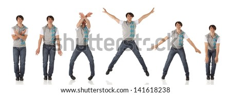 Tap dancer in blue jeans and tap shoes doing steps on a white background and floor - stock photo