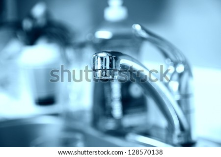 Tap water. Faucet. Water saving concept - stock photo
