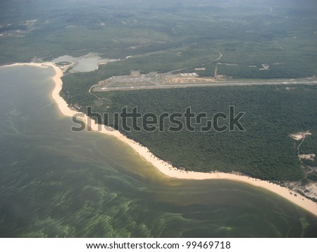 Tapajos river and overlooking the airport Santarem in the state of Pará, Brazil - stock photo