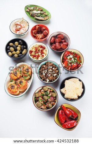Tapas, antipasto or mezze, mediterranean cold buffet and appetizer food