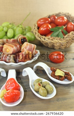 Tapas stuffed with prunes, figs, apricots - stock photo