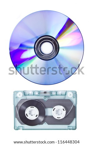 Tape cassette and CD isolated on white background - stock photo