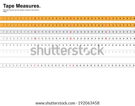 Tape measure and ruler set - stock photo