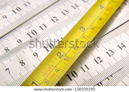 Tape measure and Steel rule - stock photo
