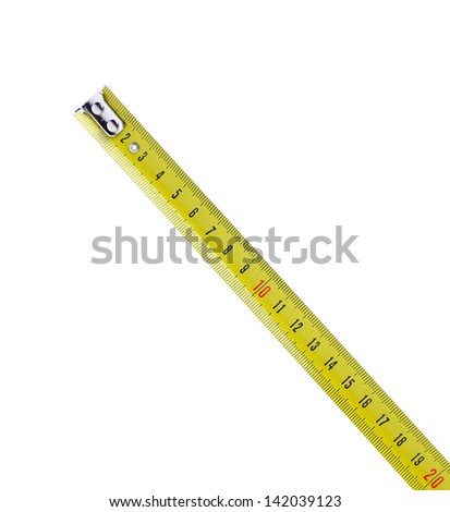 Tape Measure by diagonal isolated on the white background