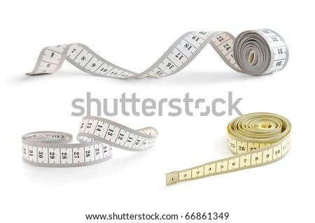 tape measure collection isolated on white - stock photo