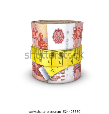 Tape measure Russian rubles / 3D illustration of measuring tape tightening around roll of bank notes