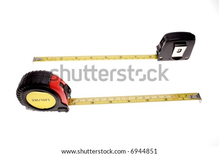 Tape measures isolated over white
