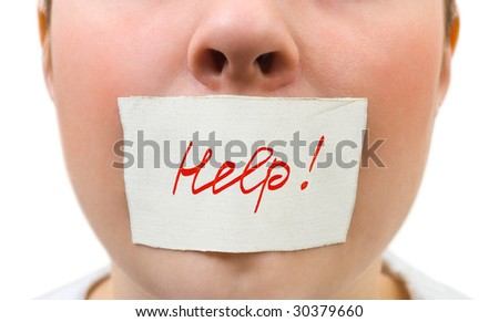 Tape over mouth isolated on white background - stock photo