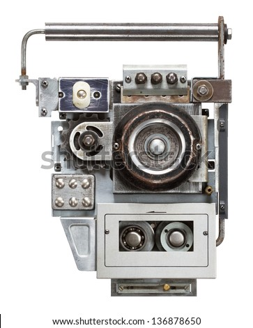 Tape recorder, audio player. Collage made of metal details. - stock photo