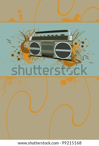 Tape recorder background with space (poster, web, leaflet, magazine) - stock photo