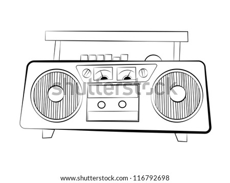 Tape recorder. Raster version of vector illustration. - stock photo