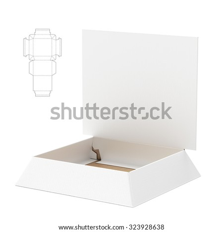 Tapered Tray Box with Counter Display Header and Die Cut Template - stock photo