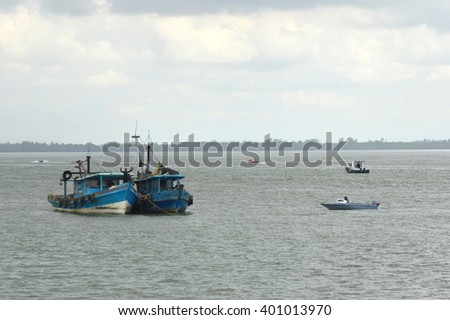Tarakan,Indonesia-April 5, 2016. two Malaysian fishing boats as evidence to be detonated by Marine Police for acts of illegal fishing in Indonesian waters