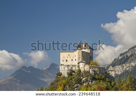 Tarasp is the most powerful and most famous castle in the Engadine - stock photo