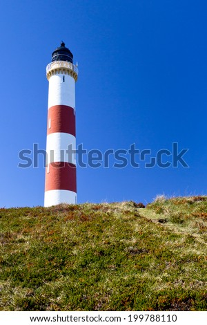 Tarbat Ness Lighthouse, near Portmahomack, Scotland  - stock photo