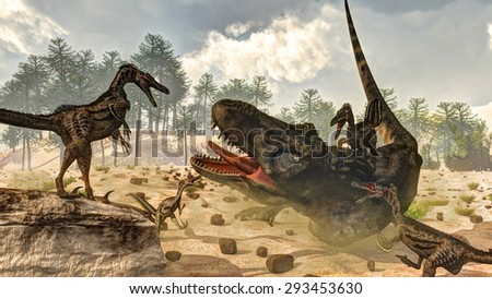 Tarbosaurus attacked by velociraptor dinosaurs next to nipa plants and araucaria trees by day - 3D render - stock photo