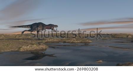 tarbosaurus hunting - stock photo