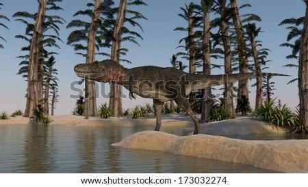 tarbosaurus on shore - stock photo