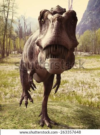 tarbosaurus walking in the woods 2 - stock photo