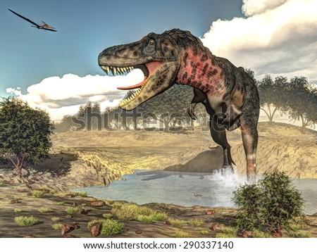 Tarbosaurus walking while roaring next to tamaris plants by day - 3D render - stock photo