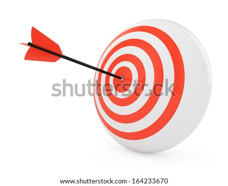 target and arrow isolated on white background. 3d render