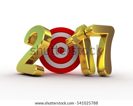 Target  and 2017  gold text, 3D illustration