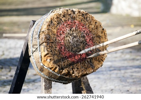 Target and javelins on medieval festival - stock photo