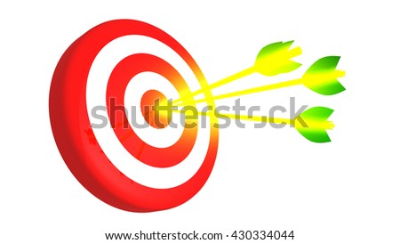 Target and multiple arrow in the bullseye, 3D illustration - stock photo