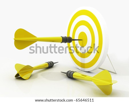 Target and three darts on white background - stock photo