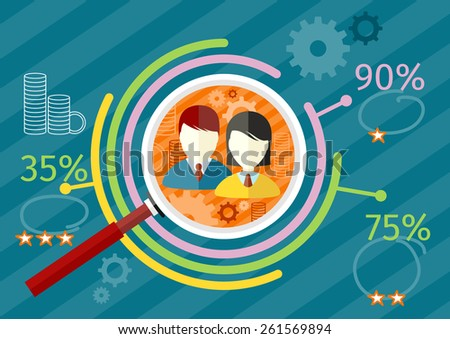 Target audience infographic with magnifying glass and man and woman icon inside chart. Income rating concept. Flat icon modern design style concept. Raster version - stock photo