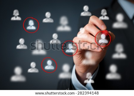 Target audience, marketing segmentation, customers care, labour market, customer relationship management (CRM) and team building concepts.  - stock photo