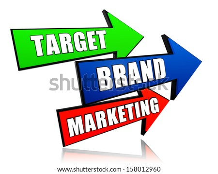 target, brand, marketing - text in 3d color arrows, business concept words