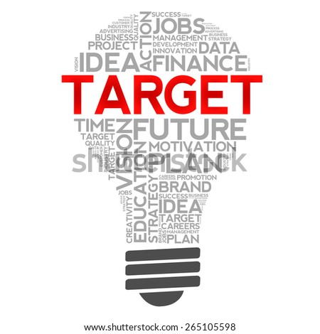 TARGET bulb word cloud, business concept - stock photo