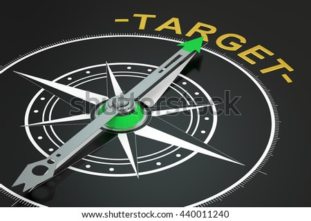 Target compass concept, 3D rendering - stock photo