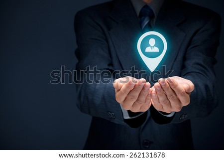 Target customer concept. Man hold target customer in hands.  - stock photo