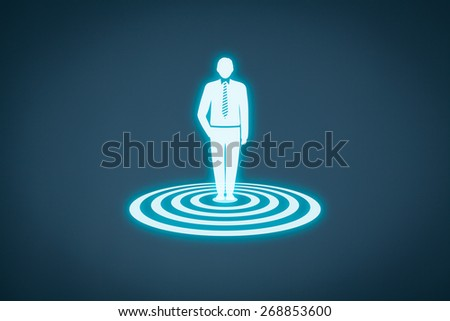 Target customer (marketing) concept. Customer represented by virtual icon of man standing on target.  - stock photo